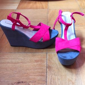 ZARA Hot Pink & Gray Wedges